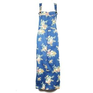 Liz Claiborne | Floral Denim Overall Jumper Dress